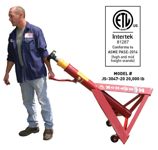 Mohawk's mobile jack stands are equipped with a handle and large castors for easy movement.