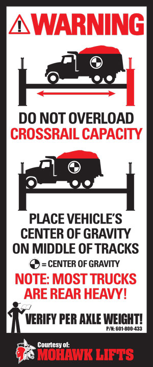 Four Post Truck Lift Warning Label