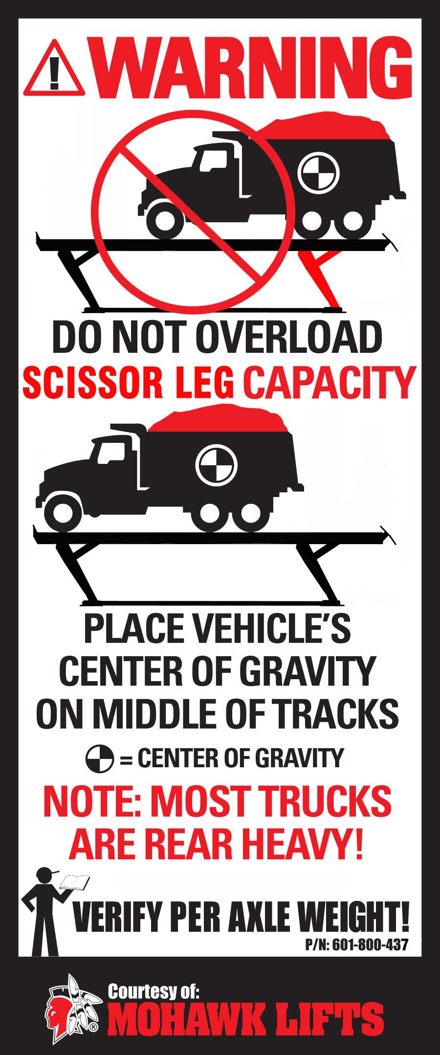 Parallelogram Truck Lift Warning Label