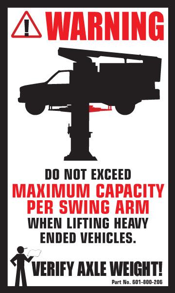 2 Post Automotive Lift Safety Label